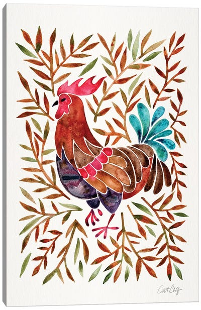 Brown Leaves Rooster Canvas Art Print