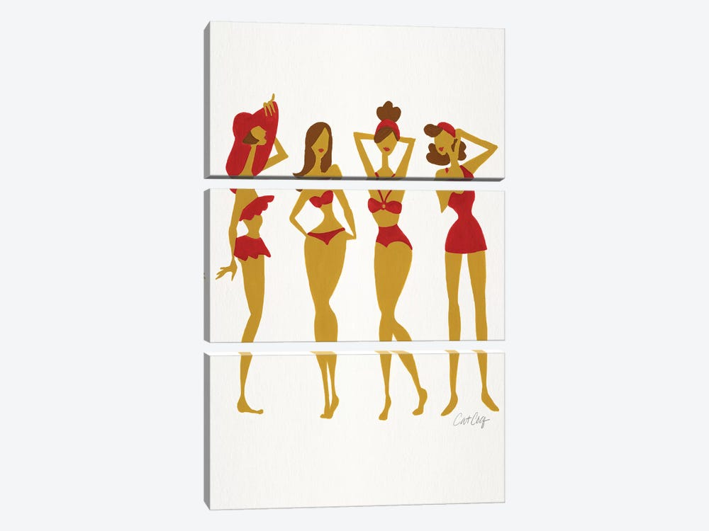 Brunette Beach Bombshells by Cat Coquillette 3-piece Art Print
