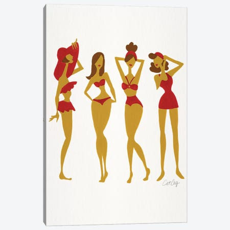 Brunette Beach Bombshells Canvas Print #CCE352} by Cat Coquillette Art Print