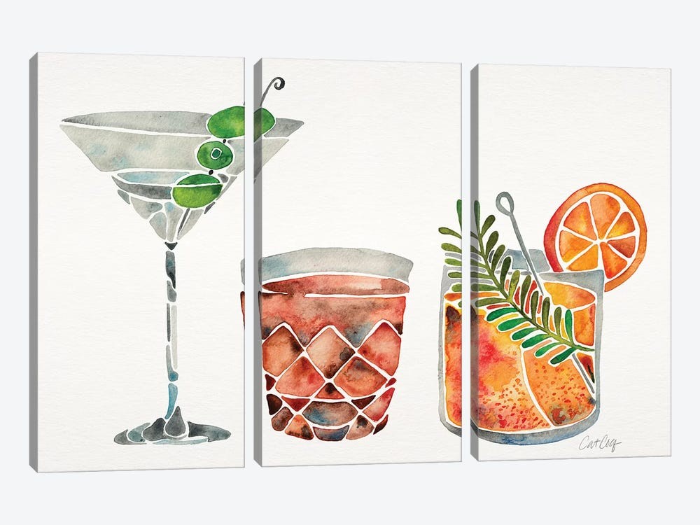 Classic Cocktails by Cat Coquillette 3-piece Canvas Art