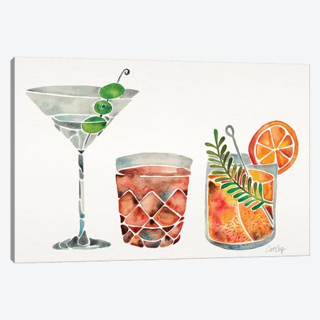 Classic Cocktails Canvas Print #CCE353} by Cat Coquillette Canvas Art Print