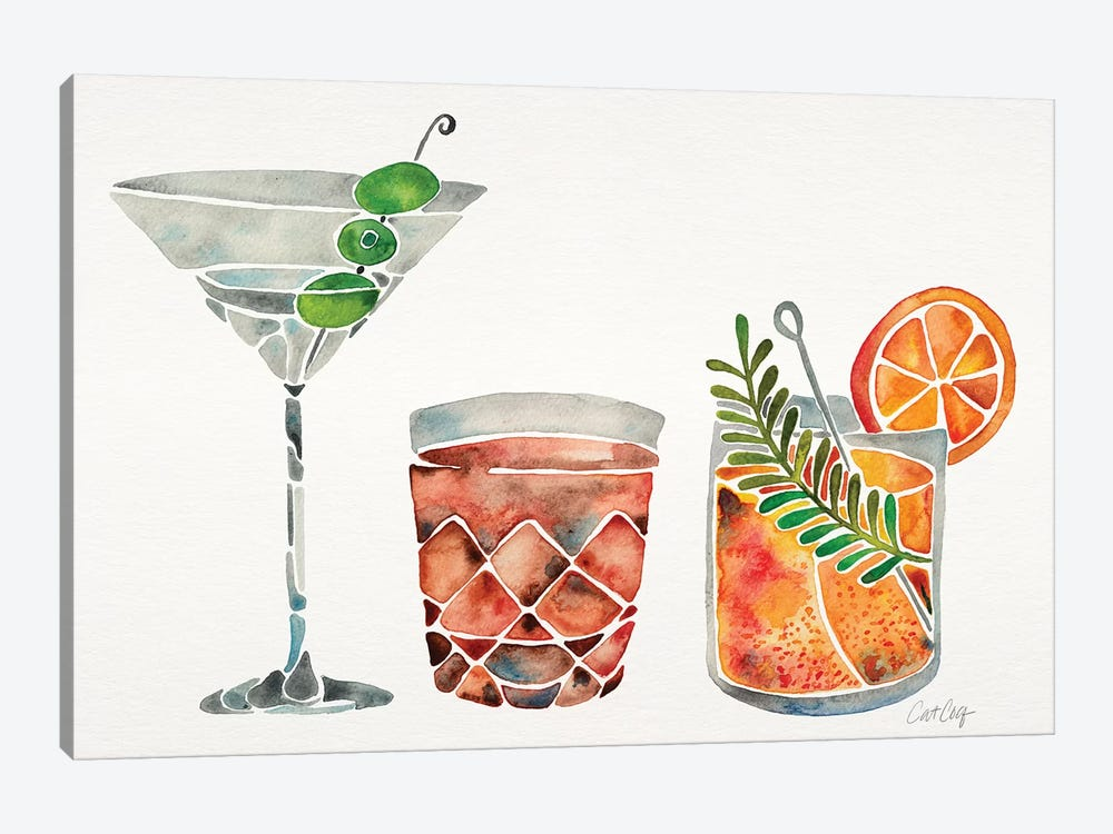 Classic Cocktails by Cat Coquillette 1-piece Canvas Artwork