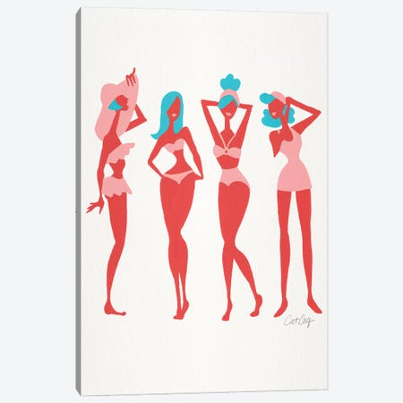 Coral & Cyan Beach Bombshells Canvas Print #CCE354} by Cat Coquillette Canvas Artwork