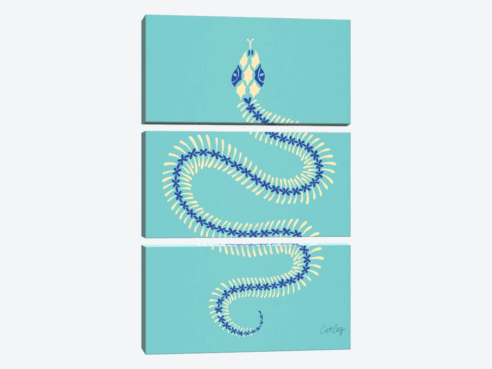Cream & Blue Snake Skeleton by Cat Coquillette 3-piece Art Print