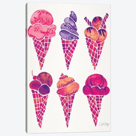Fuchsia Ice Cream Cones Canvas Print #CCE361} by Cat Coquillette Canvas Art