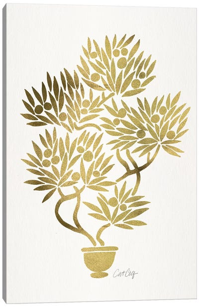 Gold Bonsai Fruit Canvas Art Print