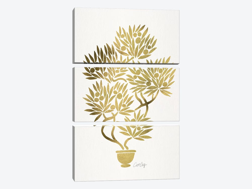 Gold Bonsai Fruit 3-piece Canvas Print