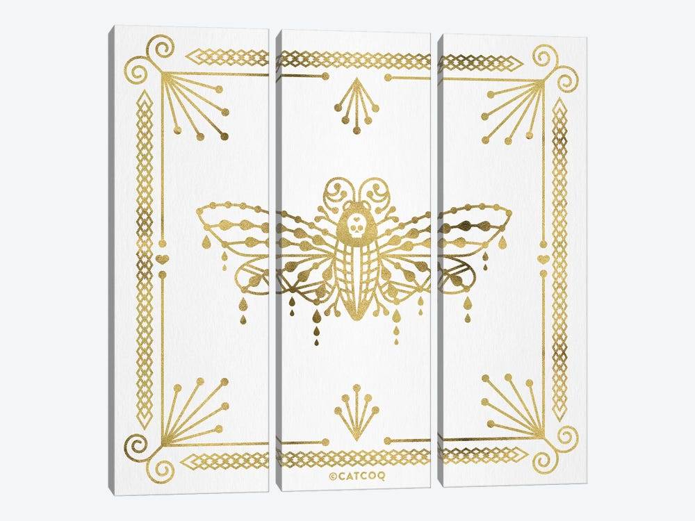 Gold Death Head Moth 3-piece Canvas Wall Art