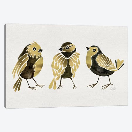 Gold Finches Canvas Print #CCE369} by Cat Coquillette Canvas Artwork