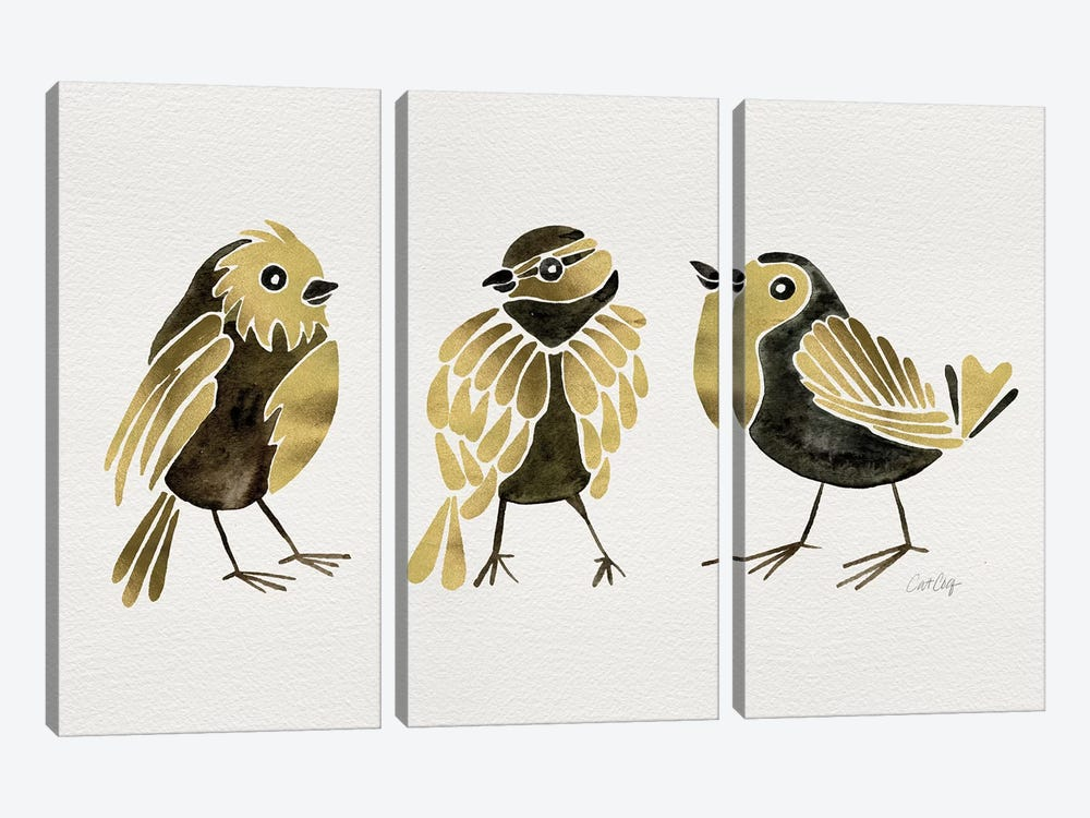 Gold Finches by Cat Coquillette 3-piece Art Print