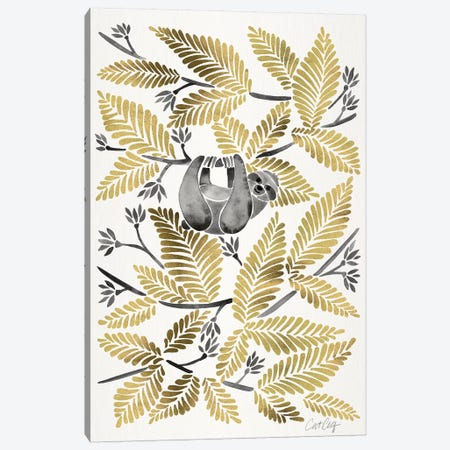 Gold Sloth Canvas Print #CCE370} by Cat Coquillette Art Print