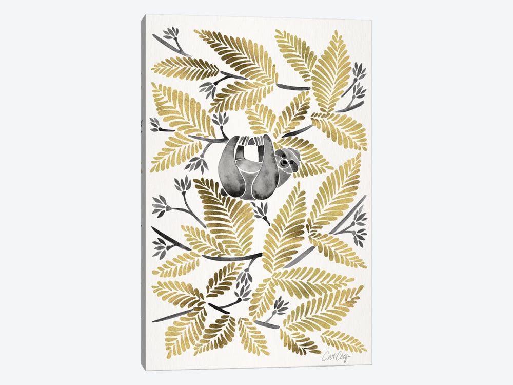 Gold Sloth by Cat Coquillette 1-piece Art Print