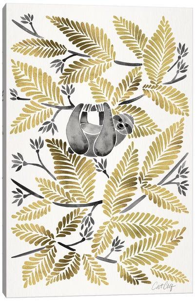 Gold Sloth Canvas Art Print