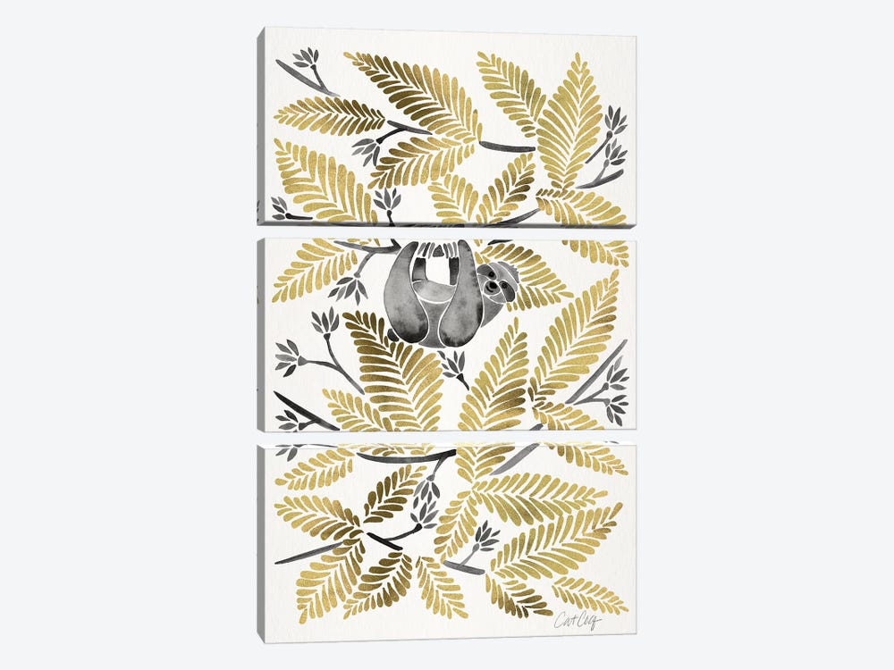 Gold Sloth by Cat Coquillette 3-piece Art Print