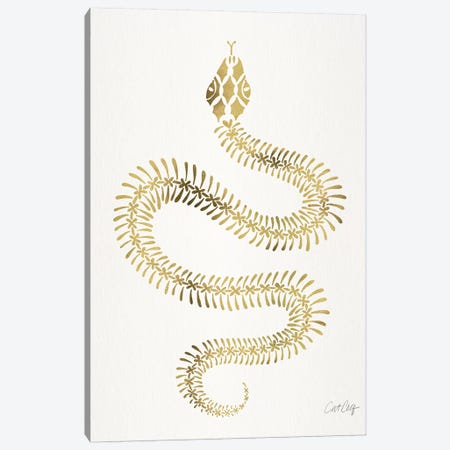 Gold Snake Skeleton Canvas Print #CCE371} by Cat Coquillette Canvas Print