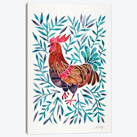 Green Leaves Rooster Canvas Print #CCE373} by Cat Coquillette Canvas Print