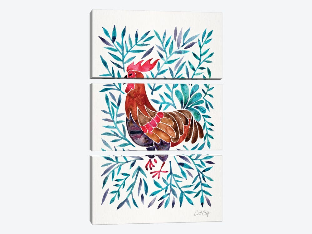 Green Leaves Rooster by Cat Coquillette 3-piece Canvas Art
