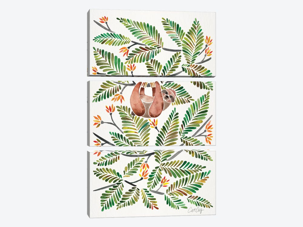 Green Sloth by Cat Coquillette 3-piece Canvas Wall Art