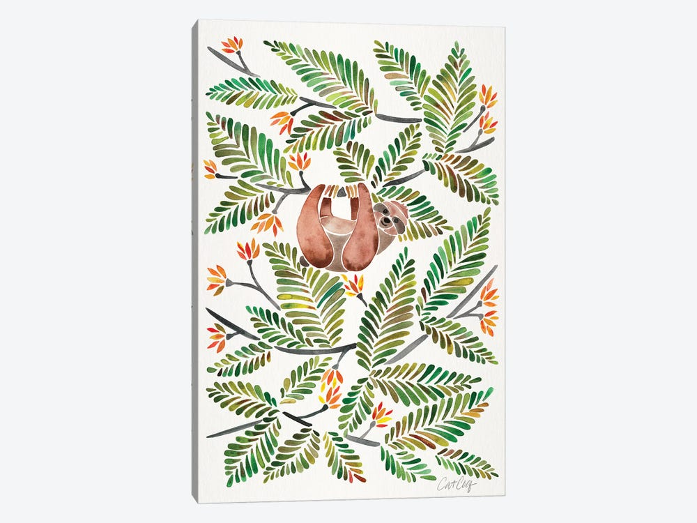 Green Sloth by Cat Coquillette 1-piece Canvas Artwork