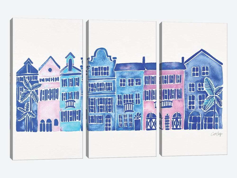 Indigo Rainbow Row by Cat Coquillette 3-piece Canvas Wall Art