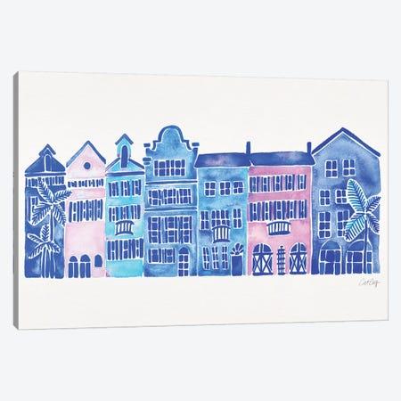 Indigo Rainbow Row Canvas Print #CCE377} by Cat Coquillette Canvas Artwork