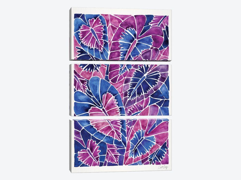 Indigo Schismatoglottis Calyptrata by Cat Coquillette 3-piece Canvas Art Print