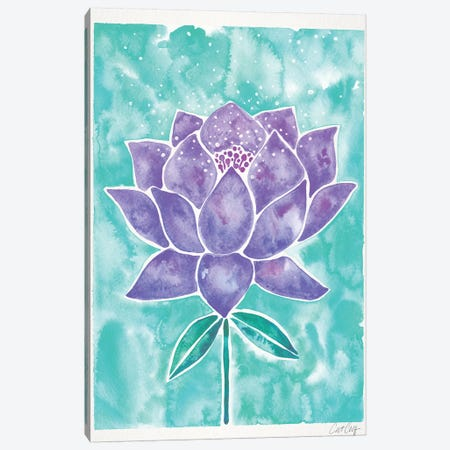 Lavender & Mint Lotus Blossom Canvas Print #CCE380} by Cat Coquillette Canvas Wall Art