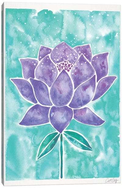 Lavender & Mint Lotus Blossom Canvas Art Print