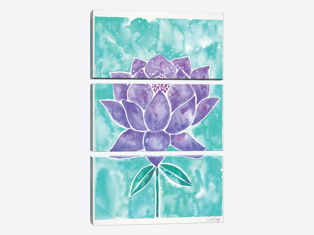 Lavender & Mint Lotus Blossom by Cat Coquillette 3-piece Canvas Wall Art
