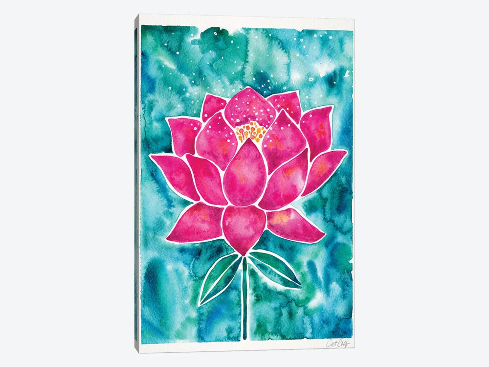 Magenta Background Lotus Blossom by Cat Coquillette 1-piece Canvas Art Print