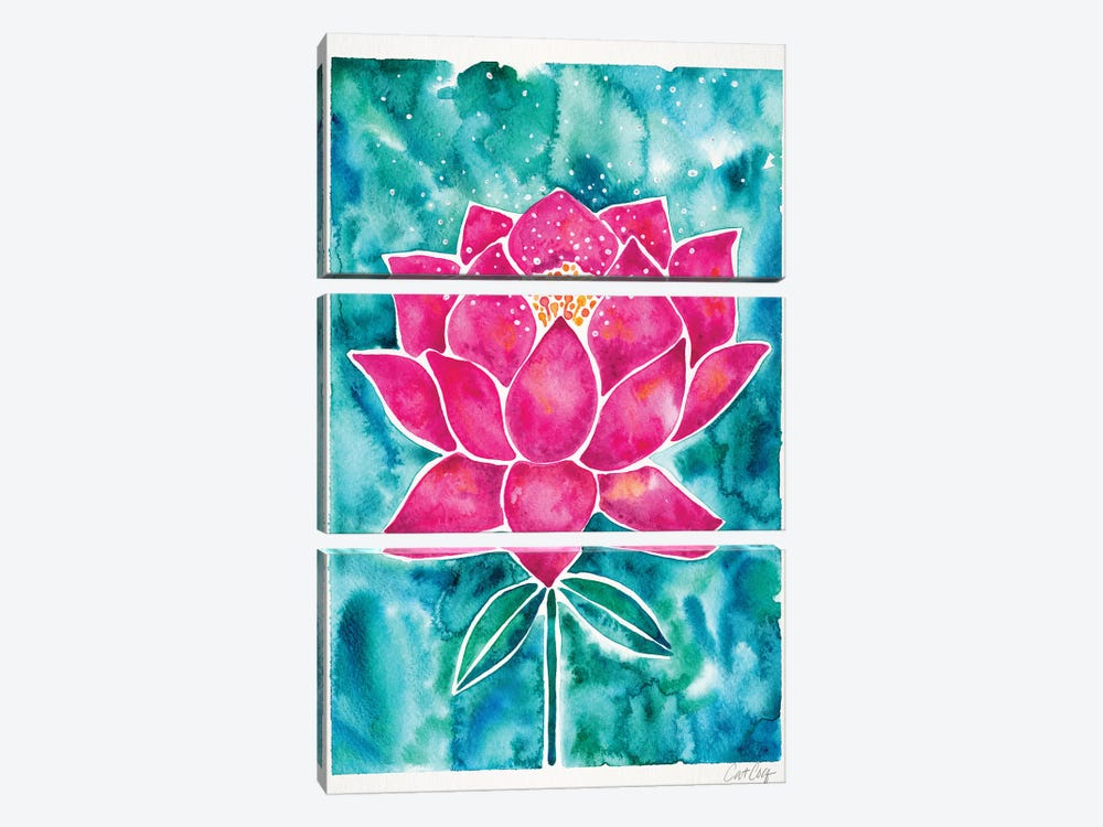 Magenta Background Lotus Blossom by Cat Coquillette 3-piece Canvas Print