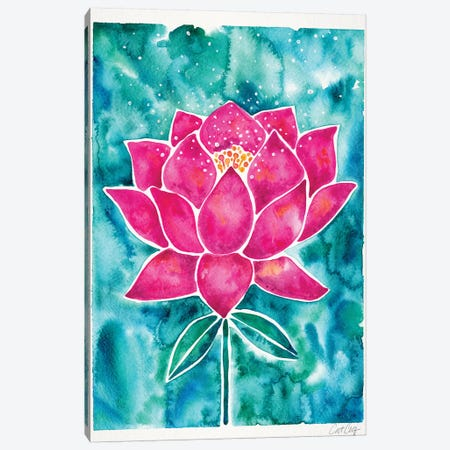 Magenta Background Lotus Blossom Canvas Print #CCE385} by Cat Coquillette Canvas Art Print