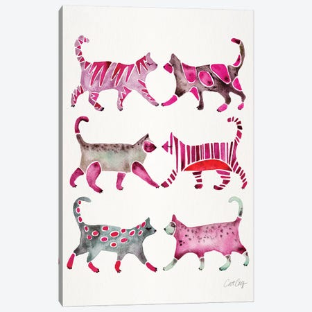 Magenta Cat Collection Canvas Print #CCE386} by Cat Coquillette Canvas Art Print