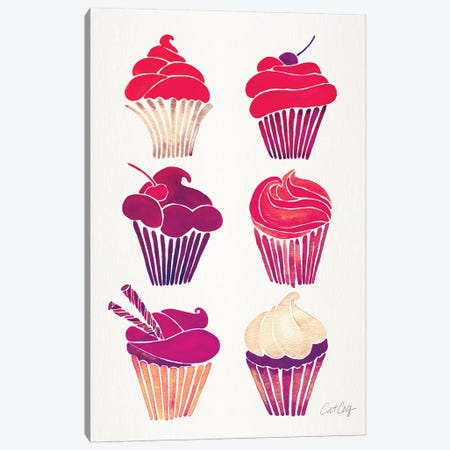Magenta Cupcakes Canvas Print #CCE387} by Cat Coquillette Art Print