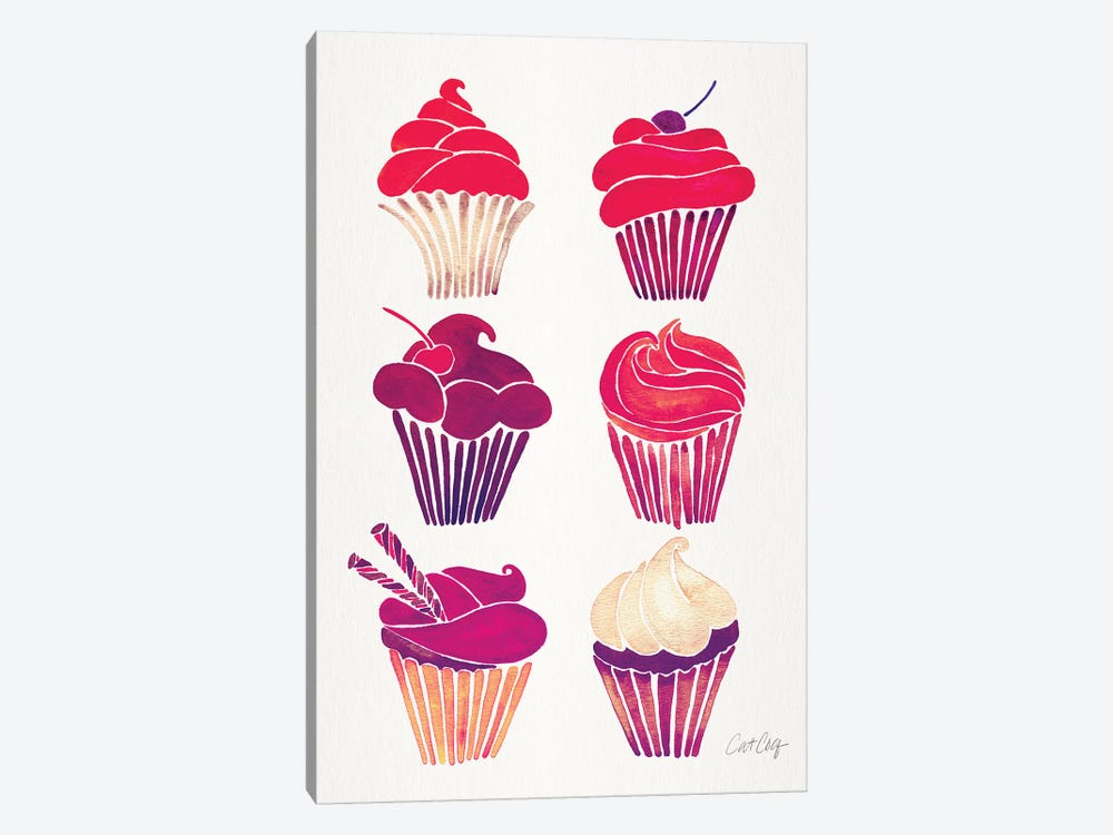 Magenta Cupcakes by Cat Coquillette 1-piece Canvas Print