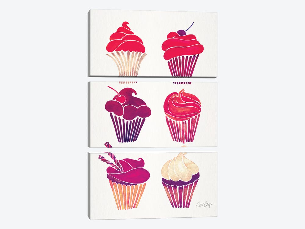 Magenta Cupcakes by Cat Coquillette 3-piece Canvas Print