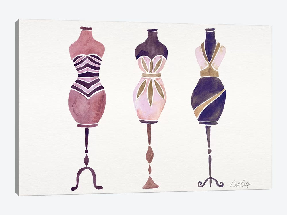 Mauve 3 Dresses 1-piece Canvas Artwork