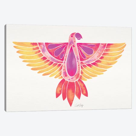 Melon Ombré Parrot Canvas Print #CCE389} by Cat Coquillette Canvas Artwork