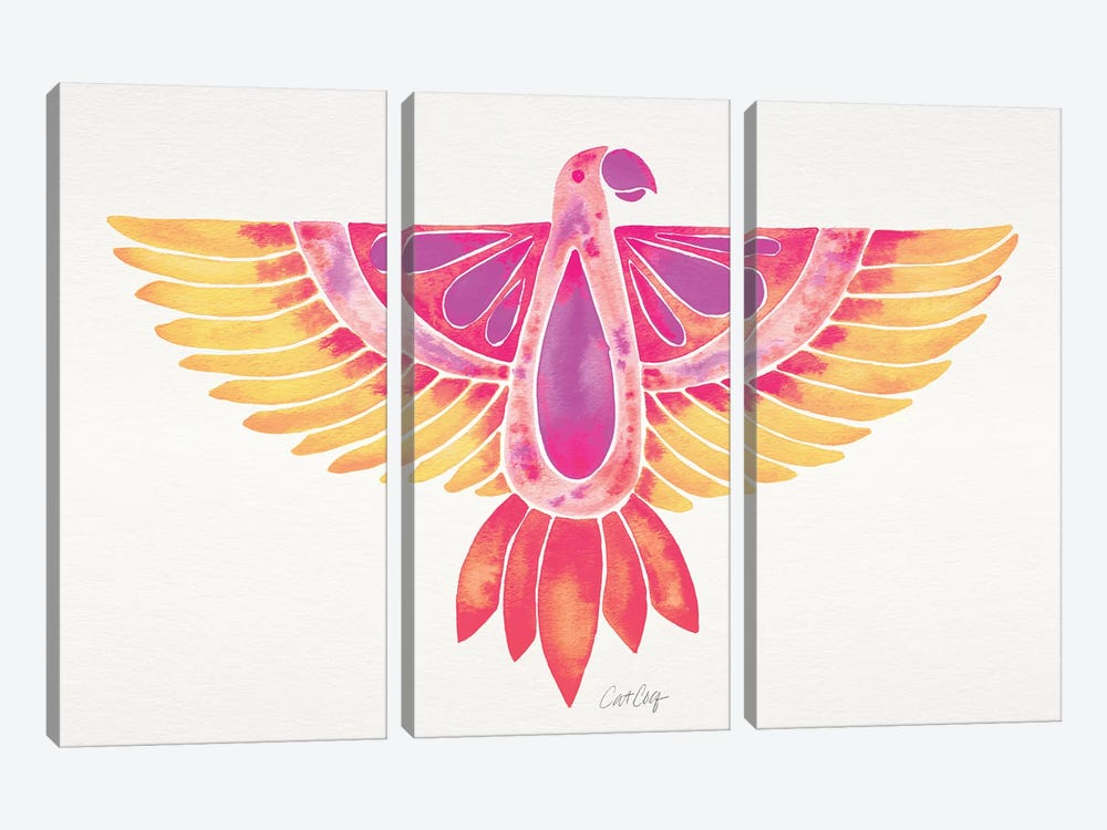 Melon Ombré Parrot 3-piece Canvas Art Print