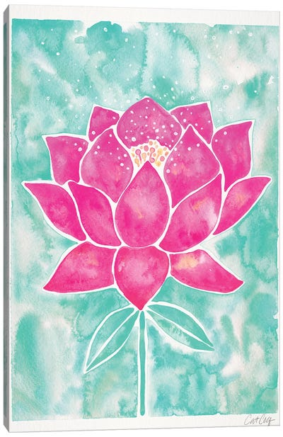 Mint & Pink Background Lotus Blossom Canvas Art Print