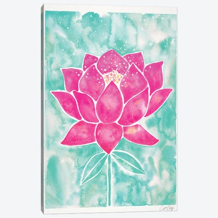 Mint & Pink Background Lotus Blossom 3-Piece Canvas #CCE391} by Cat Coquillette Canvas Print