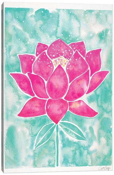 Mint & Pink Background Lotus Blossom Canvas Art Print