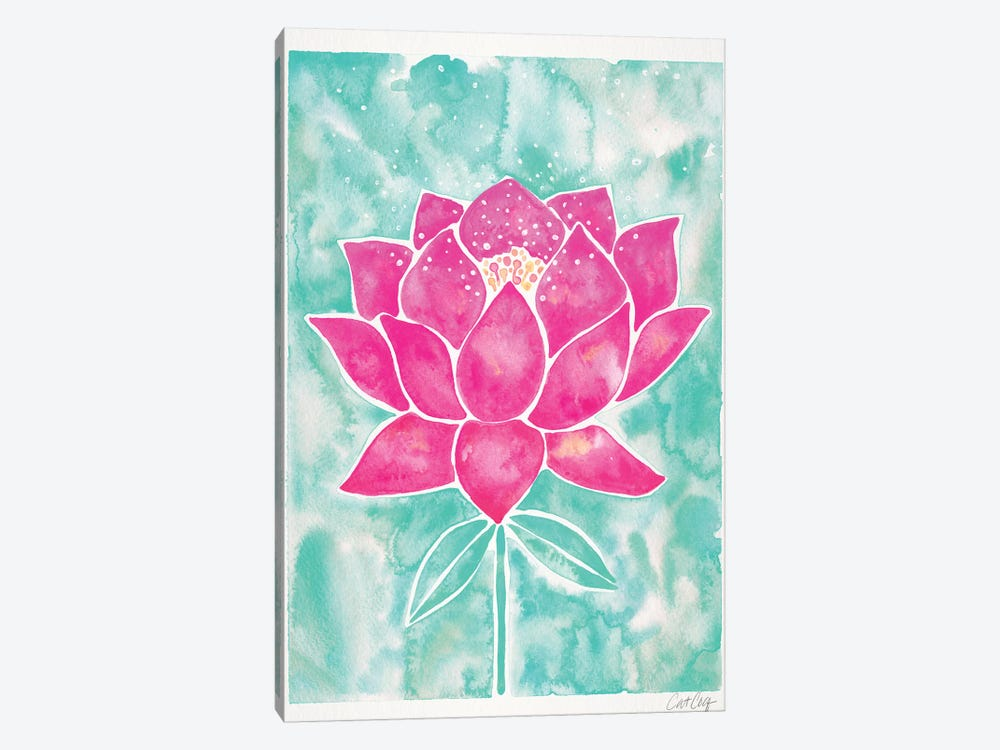 Mint & Pink Background Lotus Blossom by Cat Coquillette 1-piece Canvas Art