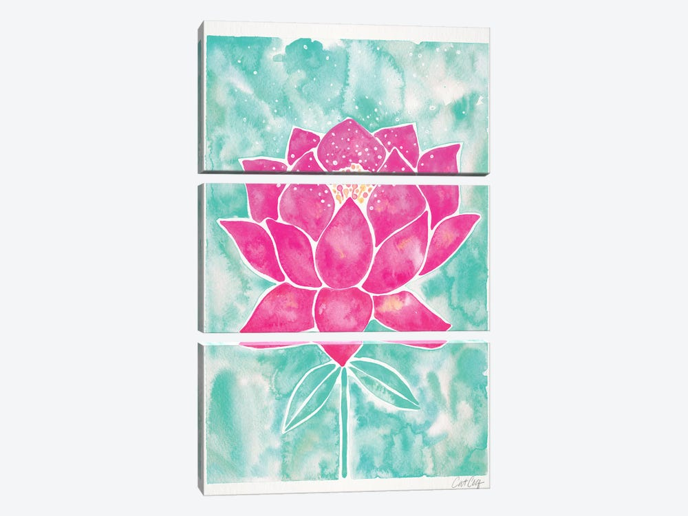 Mint & Pink Background Lotus Blossom by Cat Coquillette 3-piece Canvas Artwork