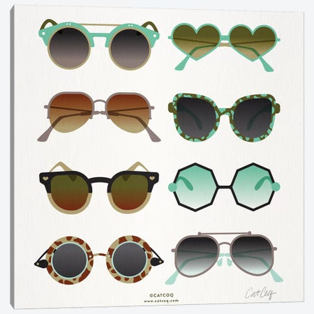 Mint & Tan Sunglasses Canvas Print #CCE393} by Cat Coquillette Art Print