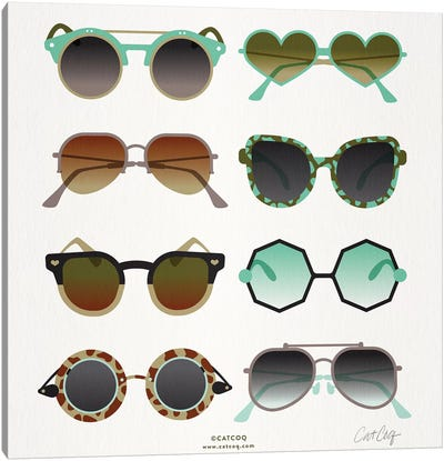 Mint & Tan Sunglasses by Cat Coquillette Canvas Art Print