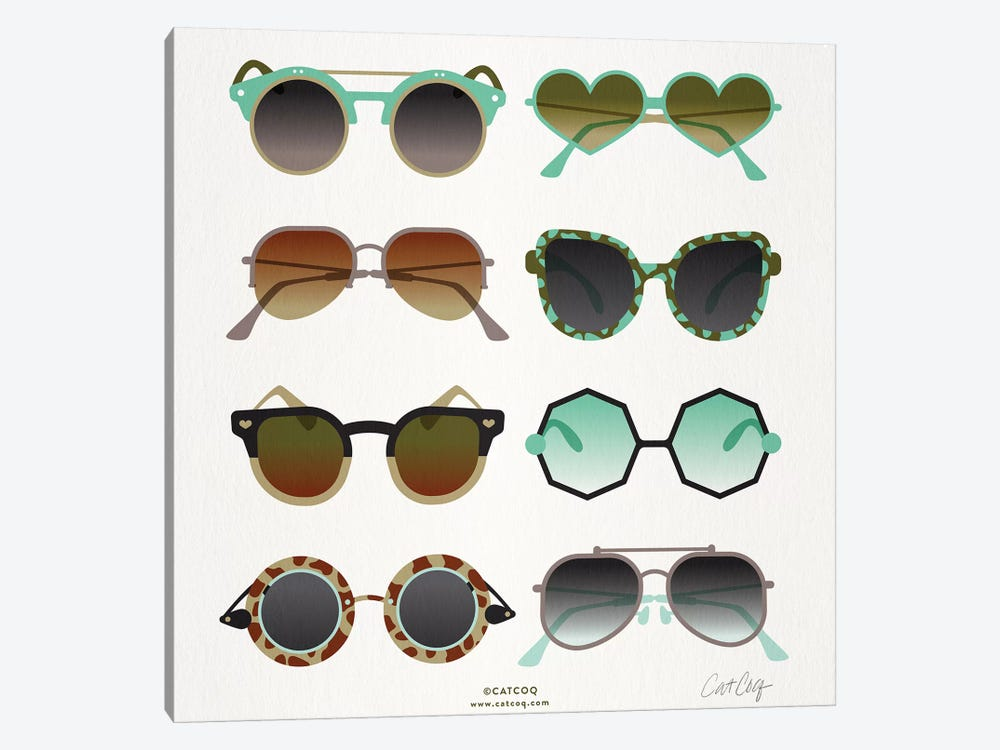 Mint & Tan Sunglasses by Cat Coquillette 1-piece Canvas Artwork