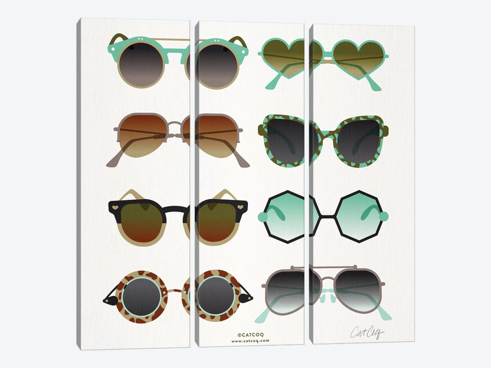 Mint & Tan Sunglasses by Cat Coquillette 3-piece Canvas Art