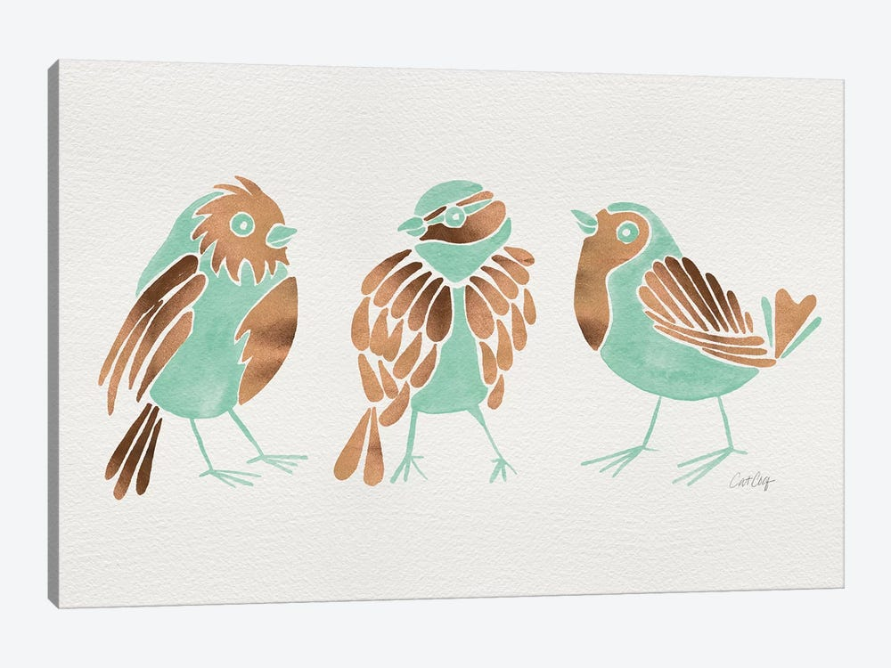 Mint Finches 1-piece Canvas Artwork