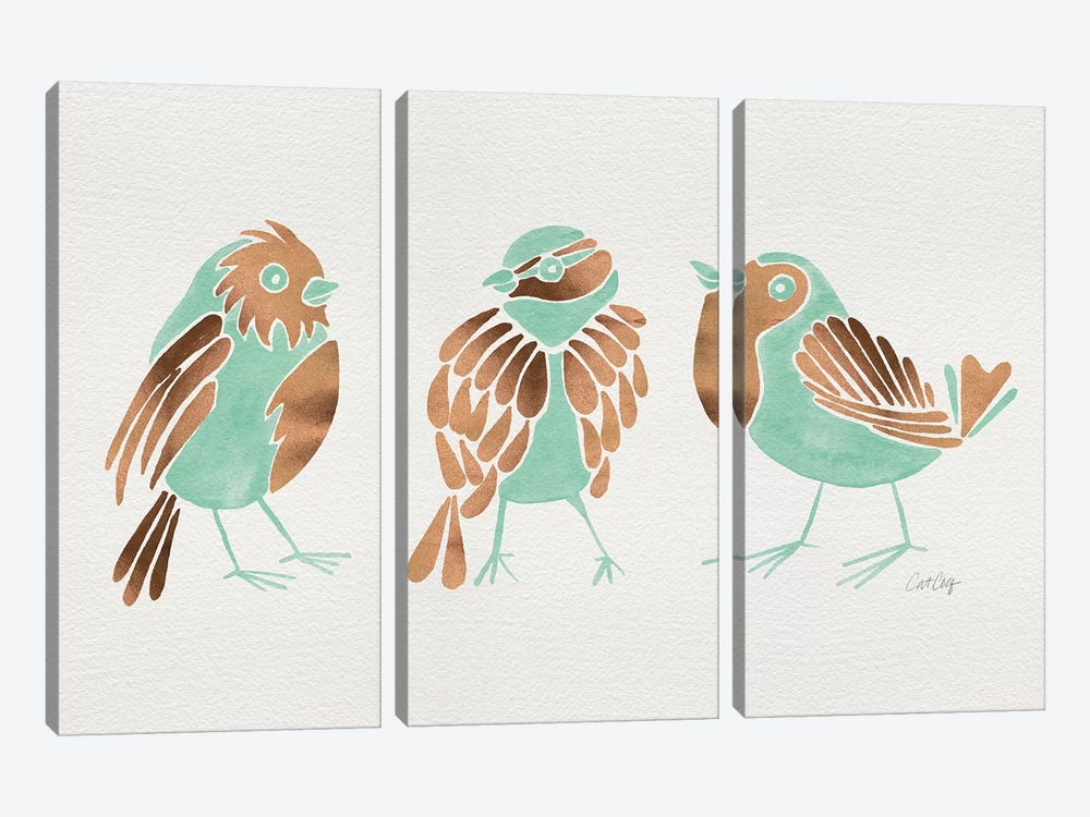 Mint Finches by Cat Coquillette 3-piece Canvas Wall Art
